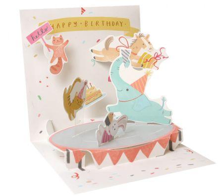 1217 Treasure Karte Geburtstag Kinder Elefant im Zirkus 13x13cm