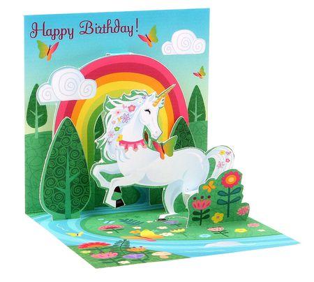 Pop UP 3D Karte Geburtstag Mini Grußkarte Einhorn 7,6x7,6cm