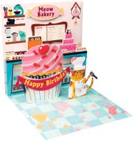 Pop UP 3D Karte Kinder Geburtstag Mini Grußkarte Backstube 7,6x7,6cm