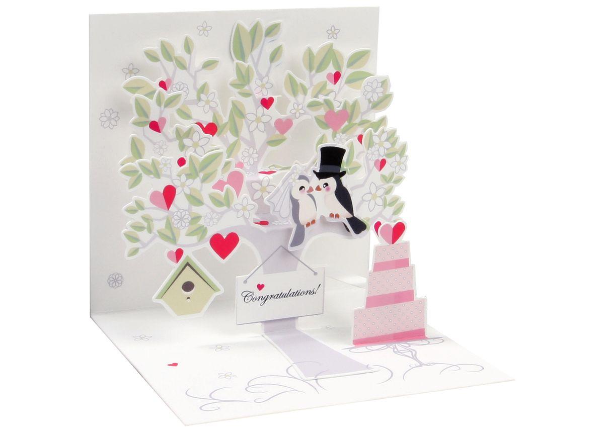 Karte Hochzeit.Pop Up 3d Karte Hochzeit Mini Grußkarte Liebesbaum 7 6x7 6cm Popshot
