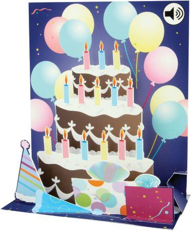 SOUND Pop Up 3D Karte Geburtstag Musik Birthday Torte 18x13cm