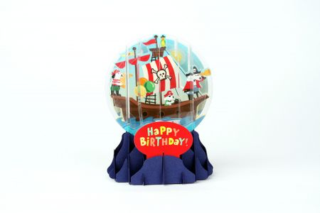 Pop Up 3D Geburtstag Schneekugel Kinder Grußkarte PopShot Happy Birthday Piratenboot 9x13cm