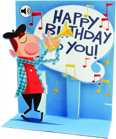 SS041 Sight´n Sound Karte Geburtstag Happy Birthday Trompete 18x13 cm