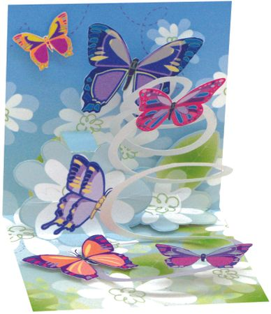 TR129 Mini Karte Geburtstag bunte Schmetterlinge 7,6x7,6cm