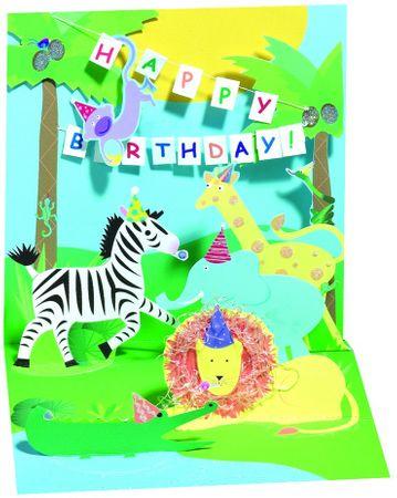 TR143 Mini Karte Geburtstag Kinder Happy Birthday Dschungel 7,6x7,6cm