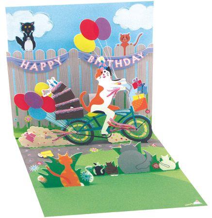 Pop Up 3D Geburtstag Mini Grußkarte PopShot Happy Birthday Katze und Fahrrad 7,6x7,6cm