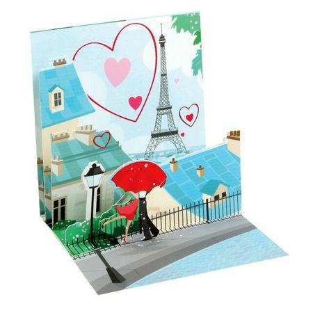 TR213 Mini Karte Urlaub Paris Eiffelturm Liebe 7,6x7,6cm
