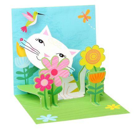 TR223 Mini Karte Geburtstag weiße Katze 7,6x7,6cm