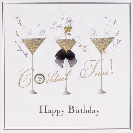 ETG13 Swarovski Elements Square Karte Handmade Cocktail Gläser Happy Birthday 16x16cm
