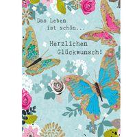 8GRG105 Swarovski Elements Maxi Karte Handmade Glückwunsch Schmetterlinge 21x16cm