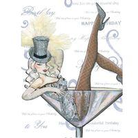8UC079 Swarovski Elements Maxi Karte Handmade Happy Birthday Lady im Glas 21x16cm