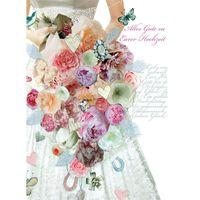 8FAB005 Swarovski Elements Maxi Karte Handmade Hochzeit Kleid 21x16cm