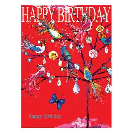 8RC009 Swarovski Elements Maxi Karte Handmade Happy Birthday Vogel Baum 21x16cm