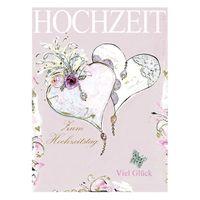 8RC015 Swarovski Elements Maxi Karte Handmade Hochzeit Herzen 21x16cm