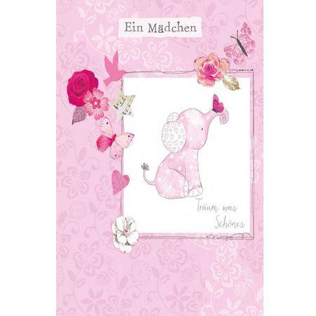 6GRG002 Swarovski Elements Midi Karte Handmade Mädchen Elefant 12x17 cm