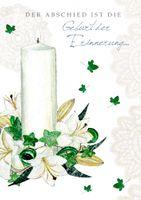 Trauer Swarovski Elements Grußkarte Kerze Erinnerung 12x17 cm