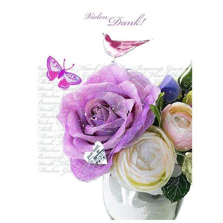 6FAB078 Swarovski Elements Midi Karte Handmade Liebe Rosen in der Vase 12x17 cm