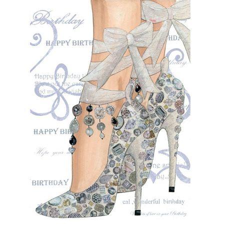 6UC078 Swarovski Elements Midi Karte Handmade Happy Birthday Stilettos 12x17 cm