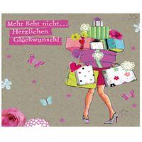 TPT052 Swarovski Elements Mini Karte Handmade Glückwunsch Einkaufen Geschenke 8x8cm