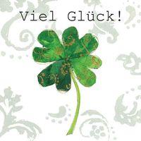 TLC083 Swarovski Elements Mini Karte Handmade Viel Glück Kleebmatt Zweig 8x8cm