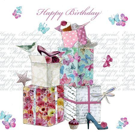 TFAB155 Swarovski Elements Mini Karte Handmade Happy Birthday viele Geschenke 8x8cm