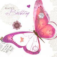 TEX020 Swarovski Elements Mini Karte Handmade Happy Birthday Schmetterling 8x8cm
