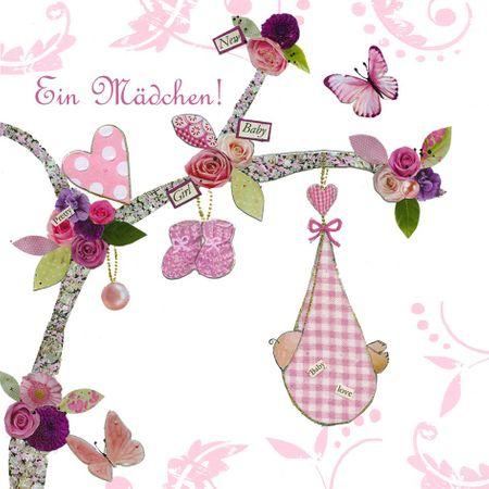 TAM045 Swarovski Elements Mini Karte Handmade Ein Mädchen 8x8cm