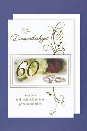 Diamant 60 Hochzeit Grußkarte Foliendruck Diamantring 16x11cm