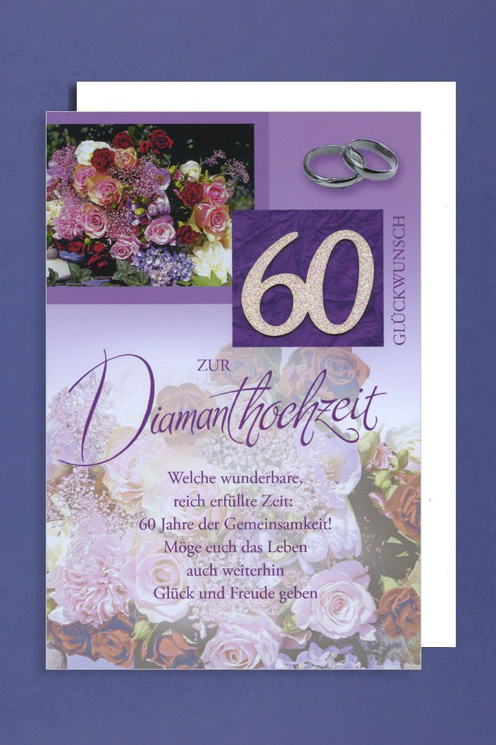 diamant 60 hochzeit gru karte silber glitzer foliendruck. Black Bedroom Furniture Sets. Home Design Ideas