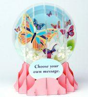 Musterkarte EG019S Schneekugekarte Muster Geburtstag Grußkarte bunte Schmetterlinge 9x13cm