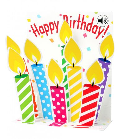 Musterkarte SS051S Sight´n Sound Karte Muster Geburtstag Happy Birthday Kerzen 18x13cm