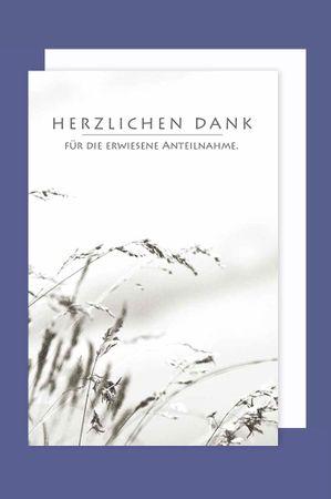 Trauer Danksagung 5er Mehrstückpackung Danke Gräser 5 Karten 15x11cm