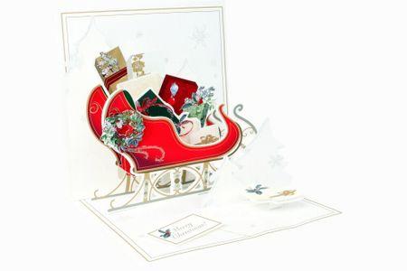 1136 Treasure Karte Weihnachten Schlitten mit Geschenken 13x13 cm