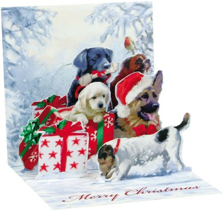 TR217S Mini Musterkarte Weihnachts Hunde 7,6x7,6cm