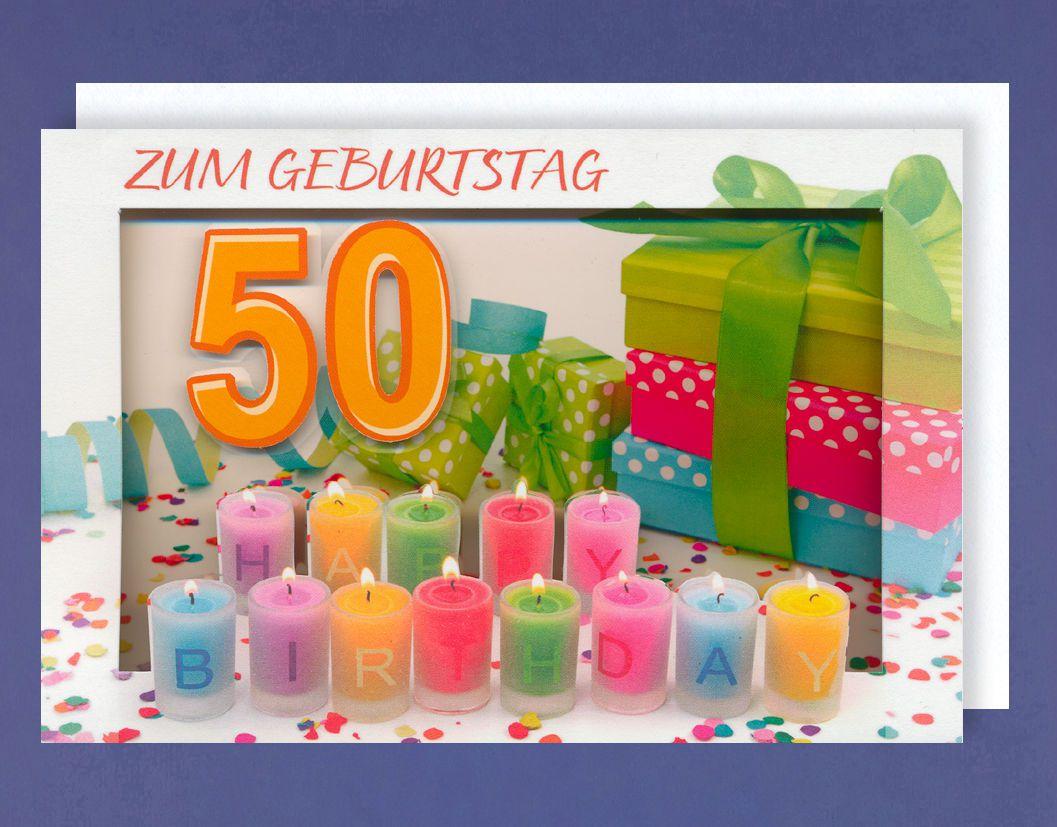 50 Geburtstag Rahmen Grußkarte mit Durchblick zum Aufstellen ...