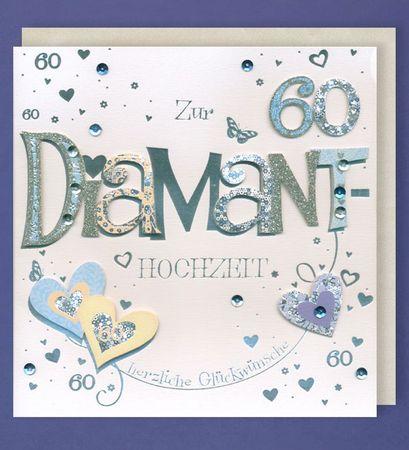 Diamanthochzeit Grußkarte 60 Handmade Applikation Herzen Silber Glitzer 21x21cm