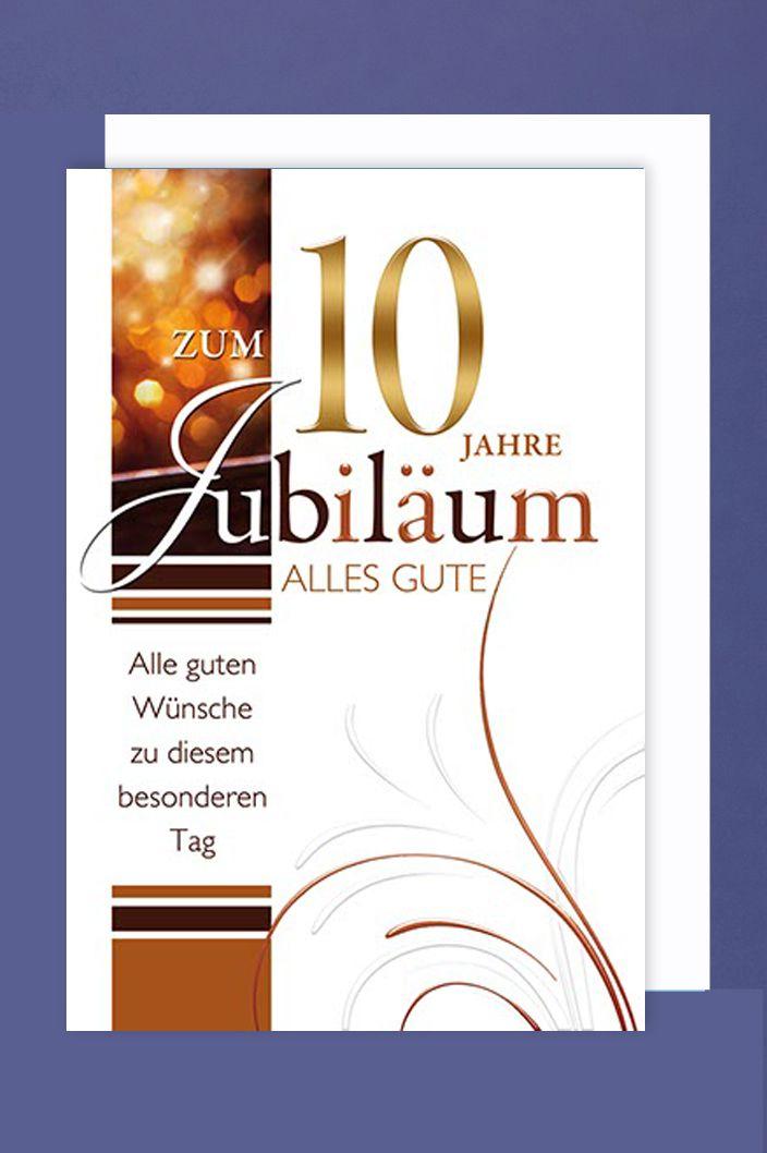 10 Jahre Jubiläum Grußkarte Geschäfts Karte Bronzedruck 16x11cm