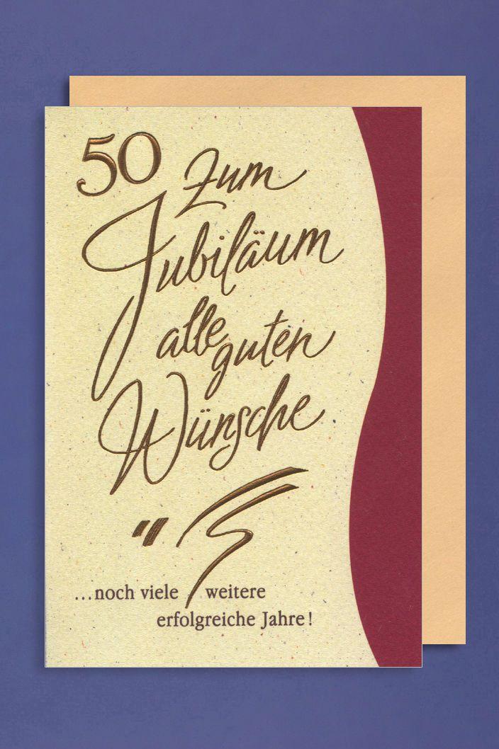 50 Jahre Jubiläum Grußkarte Geschäfts Karte Gute Wünsche 16x11cm