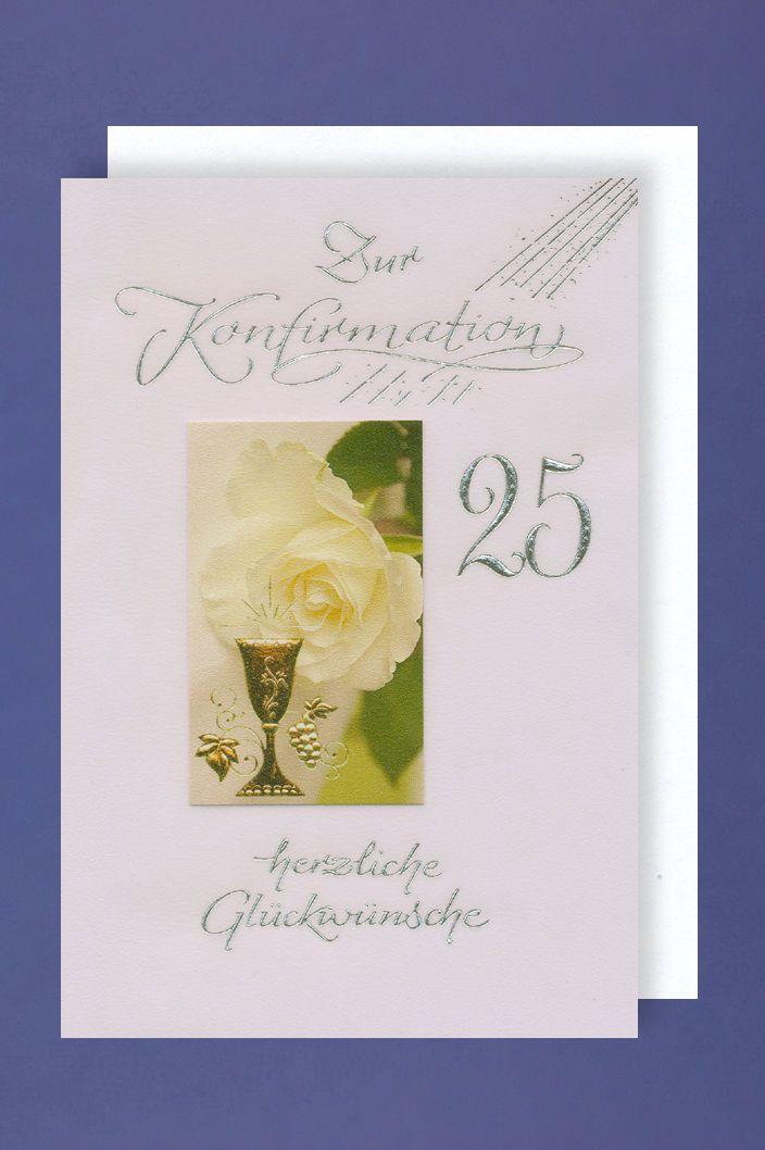 25 Silberne Konfirmation Karte Grußkarte Kelch 16x11cm