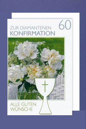 60 Diamant Konfirmation Jubiläum Karte Grußkarte Kelch Kreuz 16x11cm