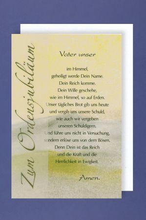 Ordensjubiläum Grußkarte Karte Glückwünsche Vater unser 16x11 cm