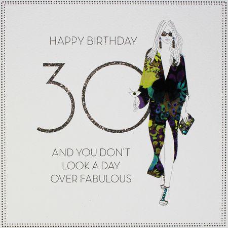 Luxus 30 Geburtstag Grußkarte Exquisite Designer Karte Stoff Applikation Lady 20x20cm