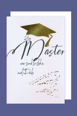 Master Karte Grußkarte Prüfung Stolz Goldfoliendruck 16x11cm