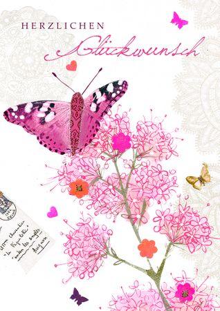 Swarovski Elements Geburtstag Grußkarte PopShot Schmetterling Blüten 12x17 cm