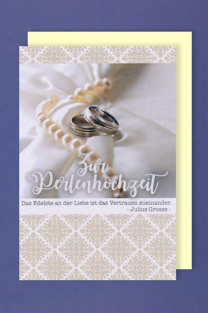 Perlen Hochzeit 30 Hochzeitstag Perlenhochzeit Karte Grusskarte Ringe