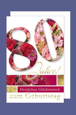 Riesen Grußkarte 80 Geburtstag Karte Blumen Glückwunsch A4