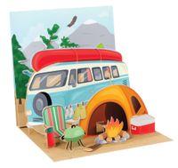 Pop Up 3D Karte Geburtstag Grußkarte Zelt Camping Natur 13x13cm