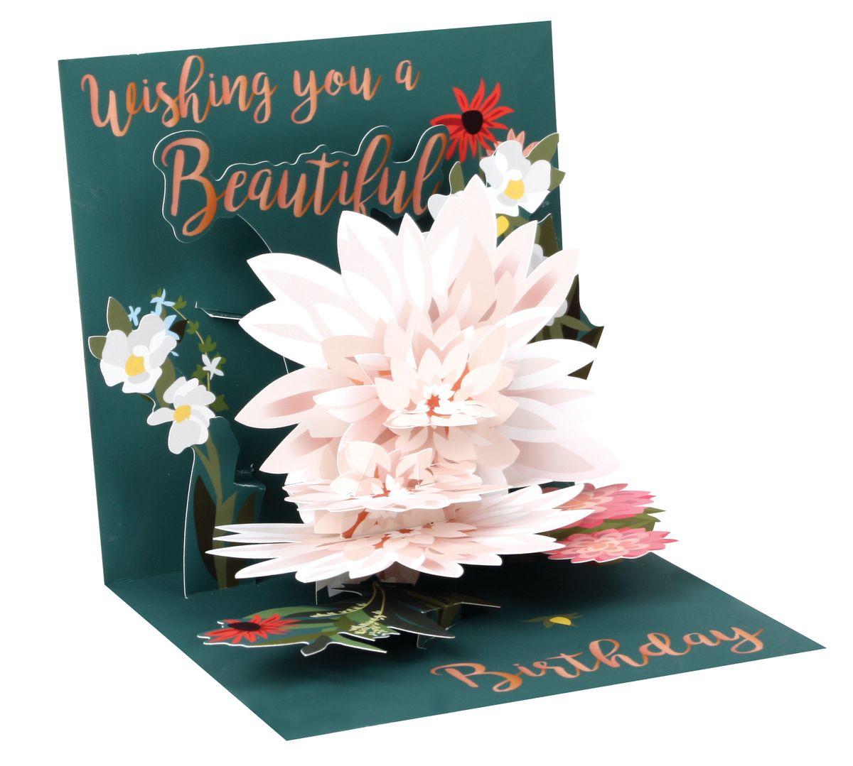 pop up 3d karte geburtstag gru karte lotus blume 13x13cm. Black Bedroom Furniture Sets. Home Design Ideas