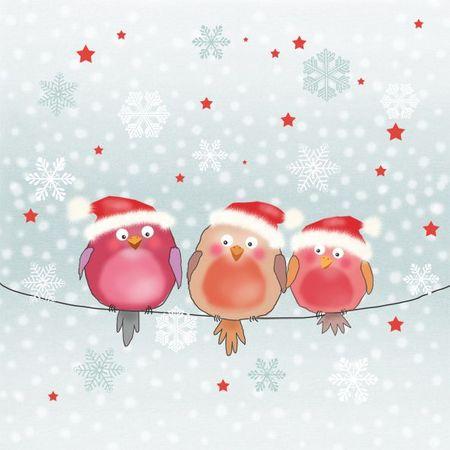 Servietten Weihnachten Winter 3 Mützen Vögel 20 Stück 3-lagig 33x33cm