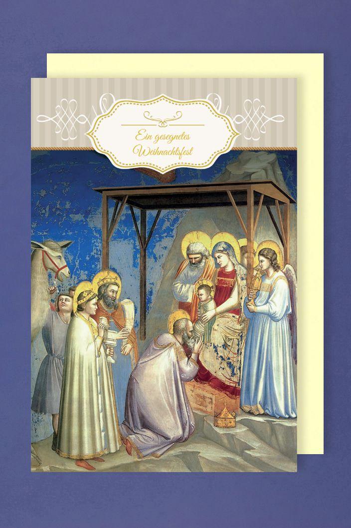 Christliche Weihnachten Grußkarte Goldprägung 3 weisen Könige 16x11cm